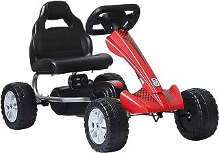 HOMCOM Coche de Pedales Go Kart Racing Deportivo con Asiento Ajustable para Niños 3-8 Años Carga 30kg 80x49x50cm Acero