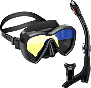 LUXPARD Snorkel Set, Anti-Fog Panoramic View Snorkel Mask and Anti-Leak Dry Snorkel Tube, Snorkeling Gear for Adult and Yo...