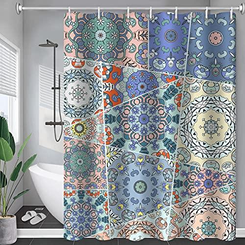 MIBYUZST Cortina de ducha, patrón geométrico impermeable impresión digital tela de cortina de ducha, cortina de ducha grande y ancha, con gancho (YL72,180X180cm)
