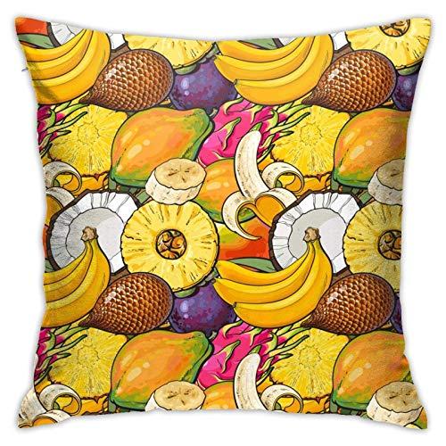 AEMAPE Funda de Almohada con Estilo de Paisaje Natural de Frutas Tropicales, Fundas de Almohada Decorativas para el hogar, Funda de cojín para sofá, 18 x 18 Pulgadas