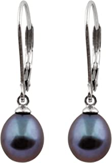 925 Sterling Silver 8mm Genuine Pearls Freshwater Cultured Lever-back Dangling Earrings for Women