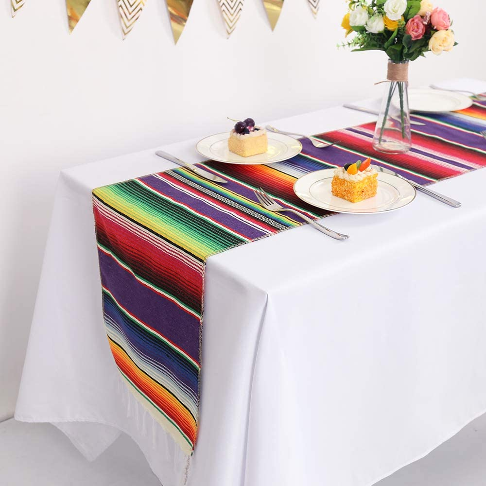 4 years warranty Humorous.P Pack of 2 Mexican 14inx108in Fringe Runners Table Tab 5 ☆ very popular