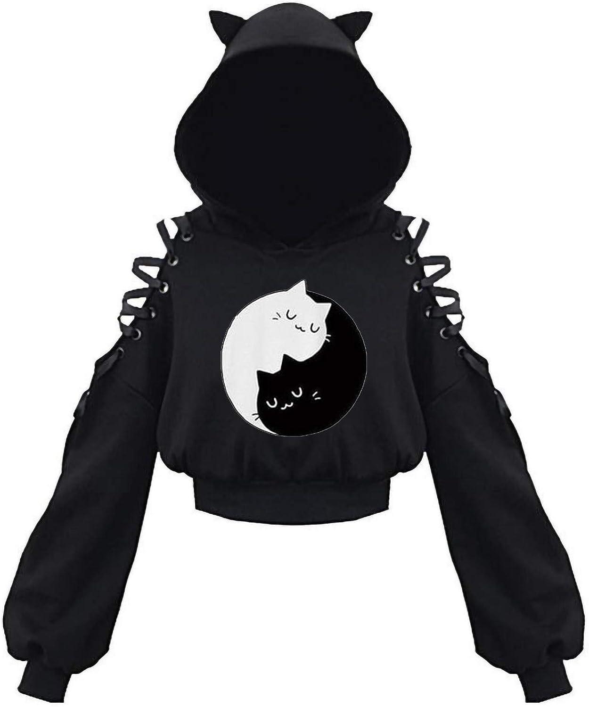 Women's Cute Cat Ear Hoodie Top Long Sleeve Off Shoulder Crop Sweatshirt Pullover Blouse