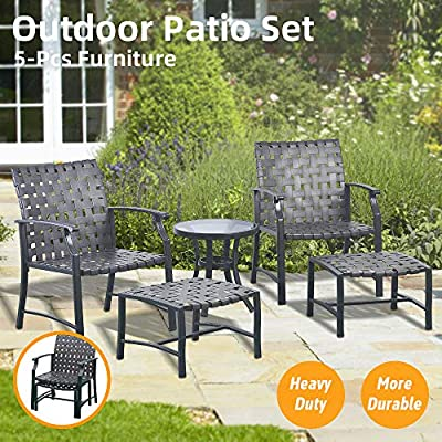 Okeysen Patio Outdoor Furniture Sets, 5 Pcs with Ottoman, All-Weather PVC Strap Conversation Set, Glass Coffee Table(Black)