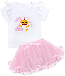 Baby Girls Shark Doo Doo Doo Romper + Tutu Dress 1st Birthday Outfit Set