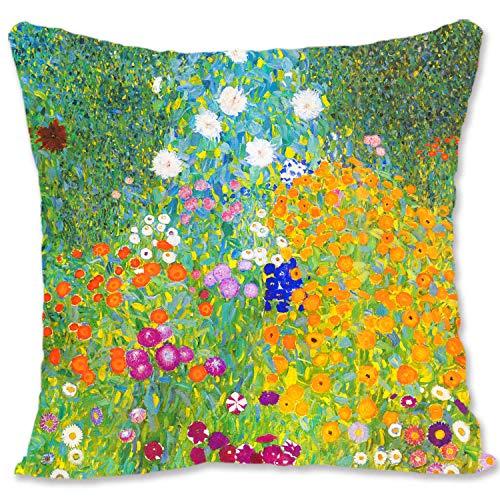 BONNIU Funda Cojin Decorativa con Cremallera 50X50 cm Funda Almohada Terciopelo Paisaje Art - Klimt - Jardín De Cottage
