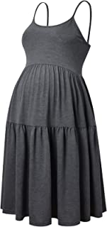 GINKANA Women's Sleeveless Maternity Dress Adjustable Strappy Summer Casual Swing Dress for Daily Wearing Or Baby Shower