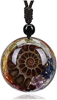 Jovivi 7 Chakra Gemstone Reki Healing Crystal Necklace Round Circle Shape Ammonite Fossil Resin Chip Stones Pendant Neckla...