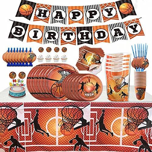 YYZS Juego de Vajilla para Fiesta de Baloncesto de 113 Piezas, Juego de Vajilla Reutilizable, Platos para 8 Personas, Tazas, Servilletas, Sorbete, Suministros de Fiesta de Cumpleaños