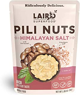 Laird Superfood Himalayan Salt Pili Nuts - Vegan and Keto Snacks, Low Carb and High Fat On The Go Fuel, 3, 1oz Packs