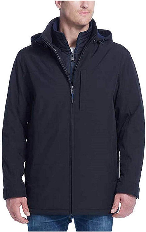 Weatherproof Ultra Tech Mens Jacket Winter Coat for Men Winter Coat Rain Jacket for Men with Fleece Bib and Removable Hood (Black/Blue, XX-Large)