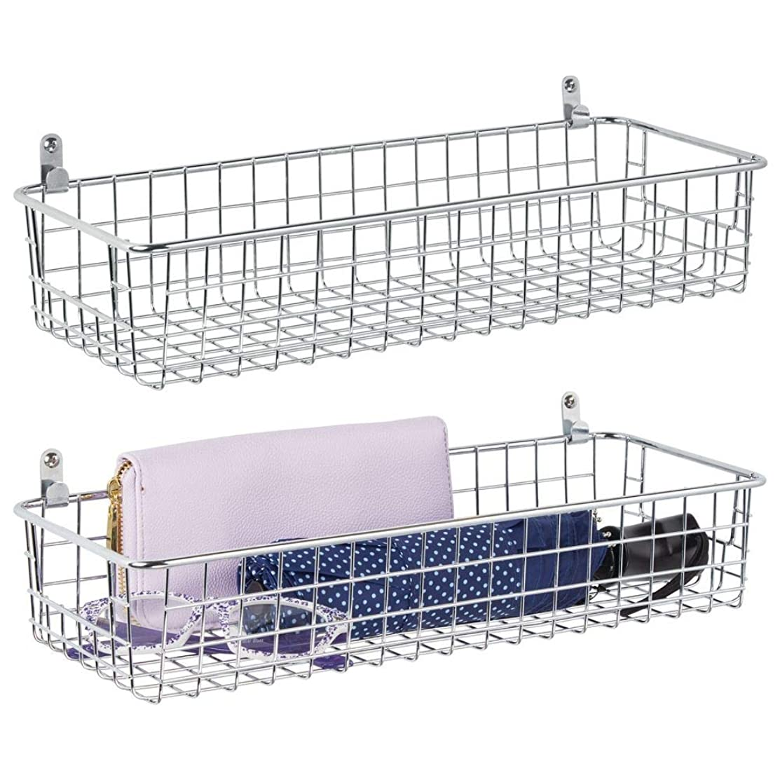 mDesign Portable Metal Farmhouse Wall Decor Storage Organizer Basket Shelf with Handles for Hanging in Entryway, Mudroom, Bedroom, Bathroom, Laundry Room - Wall Mount Hooks Included, 2 Pack - Chrome