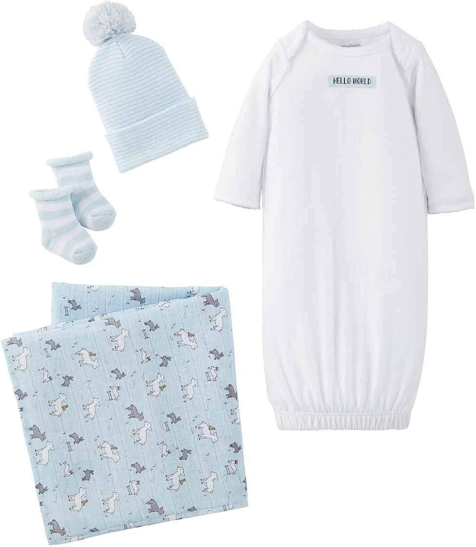Mud Pie Baby Boys' Blue Elephant Gown HAT Burp, 0-3 Months