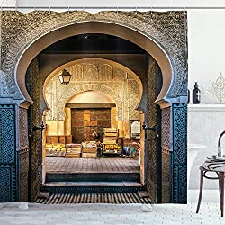 Moroccan Doorway Shower Curtain as Photo Backdrop