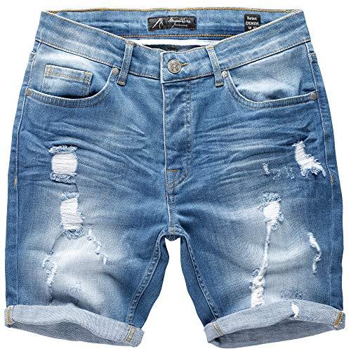 Amaci&Sons Herren Destroyed Jeans Shorts Kurze Hose Sommer Bermuda 7979 Hellblau W38