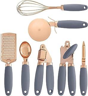 JYDQM Conjunto de Gadgets de Cocina de 7 Piezas Conjunto Utensilios de Acero Inoxidable Recubiertos de Cobre con Asas Suav...