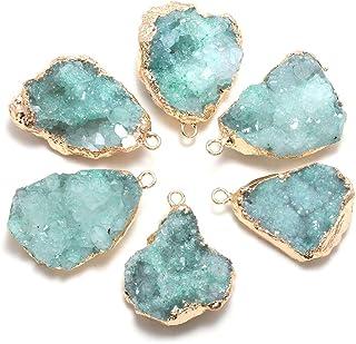 Druzy Pendant,Gold Plated Pendant,Natural Gemstone Pendant,Cluster Sugar Stone Pendant,Agate Pendant,Designer Girl Casual Brass Loop Pendant