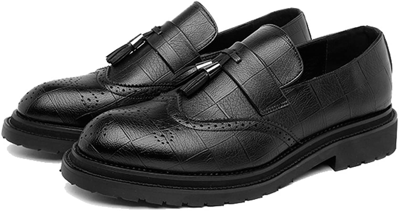 Men's Business shoes PU Leather Upper Tassel Pendant Slip-on Wingtip Decoration Breathable Outsole Oxfords