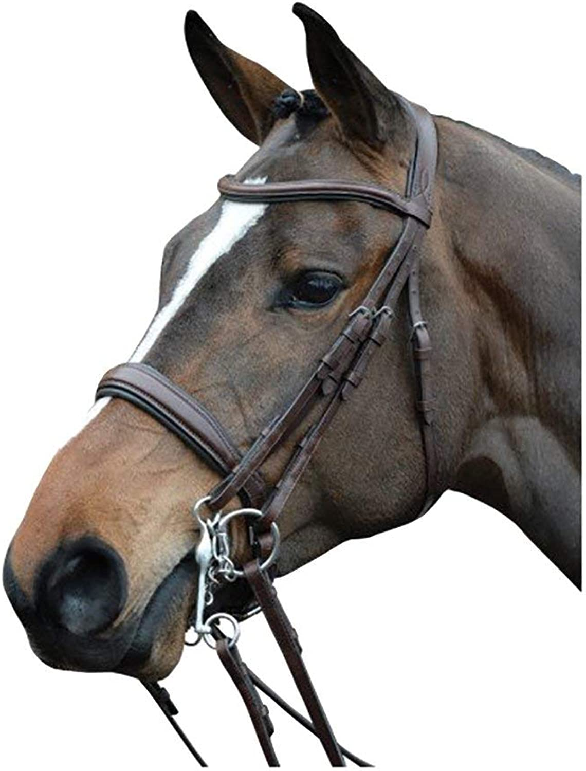 Collegiate Mono Crown Padded Raised Weymouth Bridle Brown Full