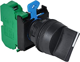 c3controls W22S2-HW-10 Non-Illuminated Selector Switch, 22mm IEC, 2-Position Maintained, Black Polyester (Type 4X) Bezel, Black Color Handle with White Color Insert, 1 Normally Open Contact Block