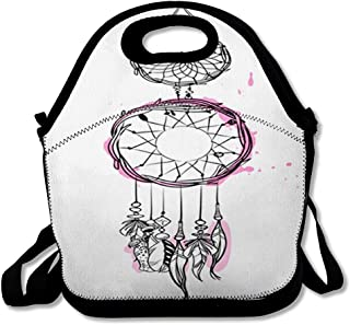 Lunch Bags for Women Insulated Folklore Amulet Dream Catcher Pink Accents Feathers Beads Stroke American Sports Recreation Aztec Lunch Box Tote for Work or School