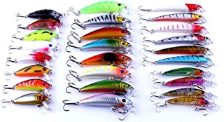 26pcs Mixed Minnow Fishing Lures Bass Crank Bait Treble hook Baits Fishing Lure Bass Lures Trout Salmon with 2 Sharp Trebl...