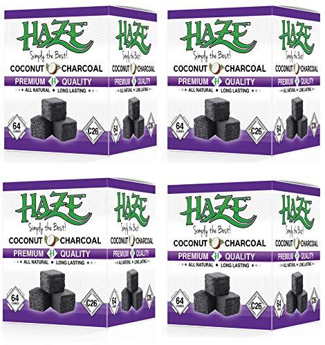 Haze Carbón de coco natural premium de 4 kg para shisha, shisha y carbón barbacoa (cubos de 26 mm), cubos de larga duración auténticos de 4 kg