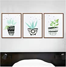 Jwqing 3 Pcs Nordic Simple Style Cartoon Green Plant Potted Posters Hd Art Prints Wall Pictures Child Room Home Decor Canvas Fresh Painting(40x60cm No Frame)