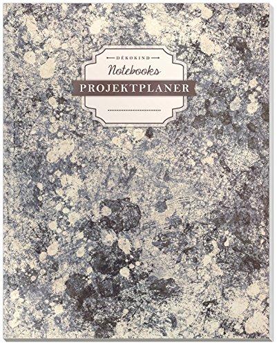 DÉKOKIND Projektplaner   DIN A4, 100+ Seiten, Register, Kontakte, Vintage Softcover   Für über 50 Projekte geeignet  Motiv: Grey Wall