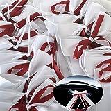 Yulakes 50pcs boucles de voiture blanc et bordeaux fait de satin mariage antenne mouture décoration pour mariage, décoration mariage, boucles de voiture carchmuck blanc
