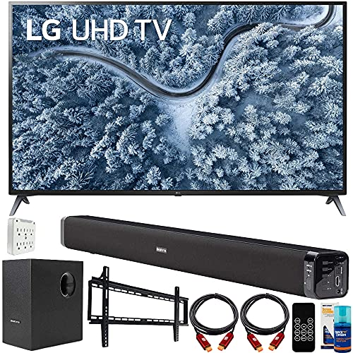 LG 70UP7070PUE 70 Inch LED 4K UHD Smart webOS TV (2021 Model) Bundle with Deco Gear Home Theatre Soundbar with Subwoofer, Wall Mount Accessory Kit, 6FT 4K HDMI 2.0 Cables and More