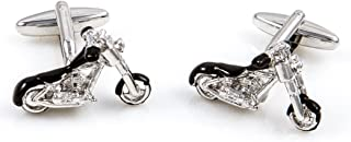 Motorcycle Chopper Street Bike Pair Cufflinks in a Presentation Gift Box & Polishing Cloth
