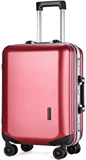 """Stylish and durable Wheels Travel Rolling Boarding,20"""" 22""""24"""" 26"""" Inch 100% Aluminium Spinner Aluminium Convenient Trolley Case,Super Storage Luggage Bag, high quality (Color : Red, Size : 20inch)"""