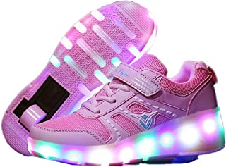 sexphd Kids Girls Boys LED Light Glow Shoes with Wheels Roller Skate Sneakers