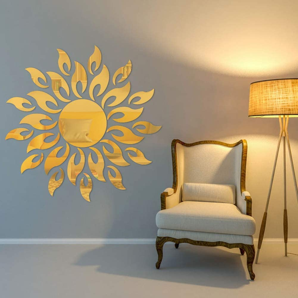 MAKLYER Sun Flower 3D Special Campaign Mirror Wall Stic Stickers Max 72% OFF Pattern
