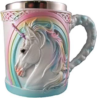 Rainbow Unicorn Coffee Mug, Cute Mythical Tea Cup, Magical Stainless Steel Fantasy Drinking Glass, Medieval Celtic Knot Design