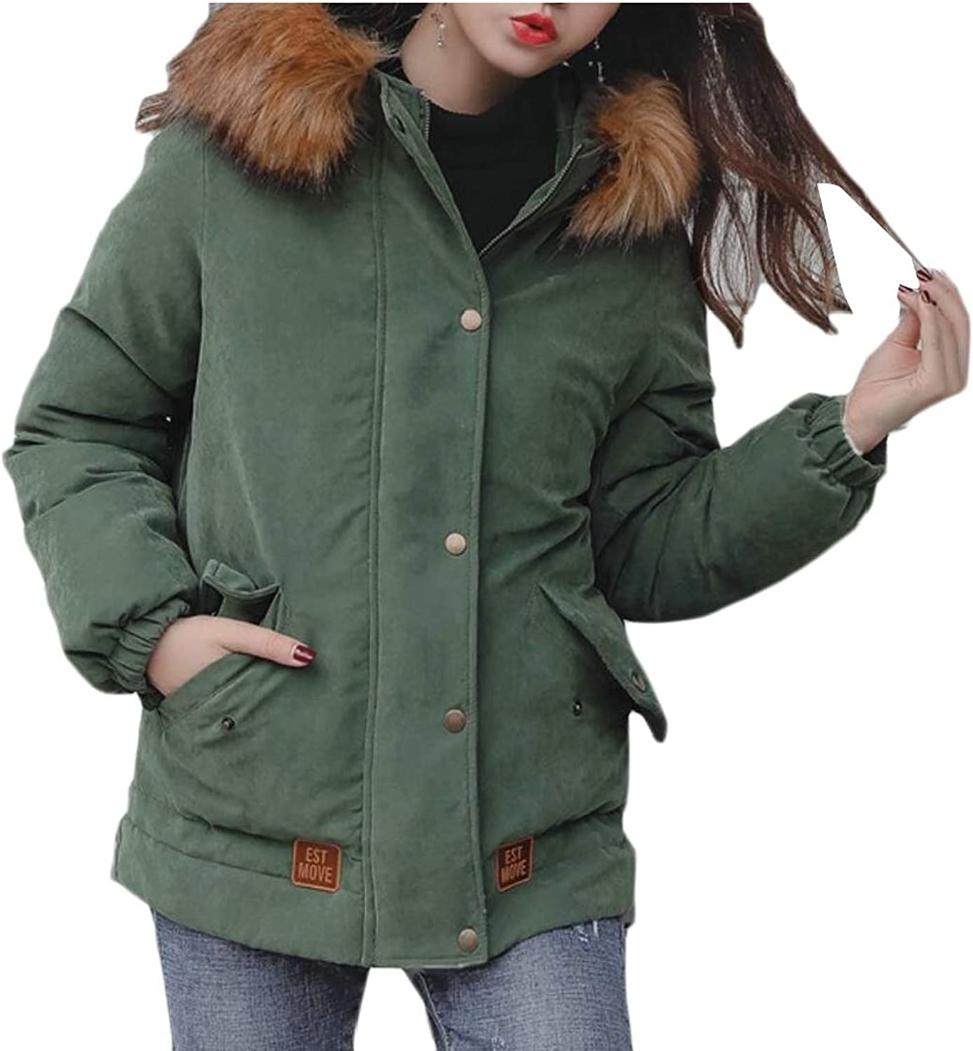 Maweisong Womens Winter Coat Faux Fur Parkas Outdoor Parka Hooded Warm Jacket