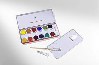 Stockmar Deckfarben - 12 Farben  Deckweiß  Pinsel  Mischpalette
