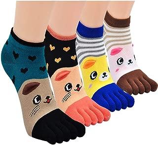 Toe Socks Women Five Finger Socks Cotton Breathable Toe Socks for Women Running Toe Socks with Reinforced Heels and Toes