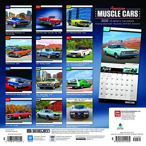 American Muscle Cars Calendar 2020 Muscle Cars Wall Calendar Bundle Includes Over 100 Calendar Stickers Photo #4