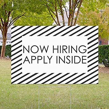 CGSignLab Stripes White Double-Sided Weather-Resistant Yard Sign 5-Pack Now Hiring Apply Inside 18x12