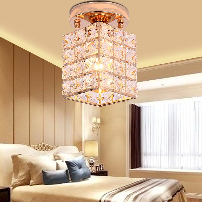 European K9 Kristalle Glaskuppel Lampe Square Luxury Multilateral Decke Lampe E27 Golden Rechteckig Decke Licht Schlafzimmer Restaurant Pendelleuchte