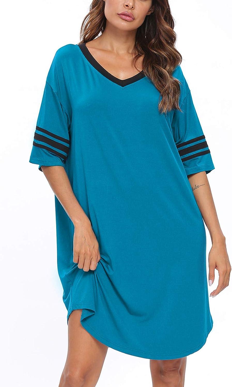LecGee Luxury Womens Ranking TOP2 Short Sleeve Modal Neck Casual Nightgo V Sleepwear