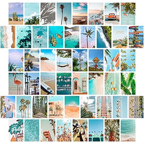 TROOPIC - Collage de 50 Fotos de Pared para Decoracion de Habitacion Aesthetic, colección Summer Beach, Acabado Mate, 10 x...