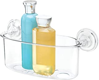 iDesign panier de rangement à ventouse, grand valet de douche en plastique avec trous pour évacuer l'eau, panier de bain s...