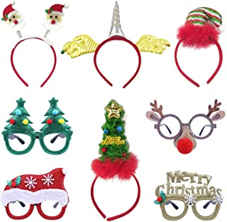 8 Pack Christmas Party Hats, Fancy Elf Reindeer Antlers Xmas Tree Bells Santa Hat Christmas Headbands Party Glasses Frames for Christmas Party Favors Decorations Gifts for Adults Kids