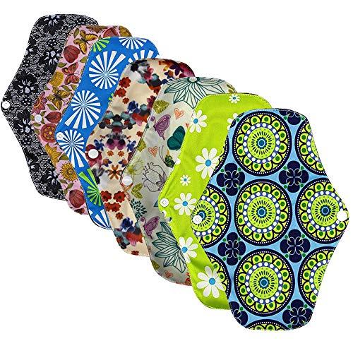Ealicere 7 Stück 25.5 cm Slipeinlagen Waschbar Pads Wiederverwendbare aus Bambusfaser, Damenbinden Waschbare Stoffbinden (Blumenmuster)