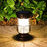 7.8' Hanging Solar Lantern Lights, Solar Lantern Outdoor, Solar Powered LED Waterproof Landscape Lantern for Table Patio Pathway Yard Decorative, Crackle Glass, Retro Metal, Tungsten Filament Lamp