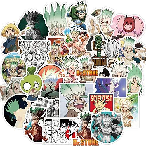 BLOUR 50 Piezas Anime Dr. Stone Pegatinas Graffiti Anime calcomanías Impermeable monopatín Pegatina para portátil Maleta Equipaje DIY decoración de Coche