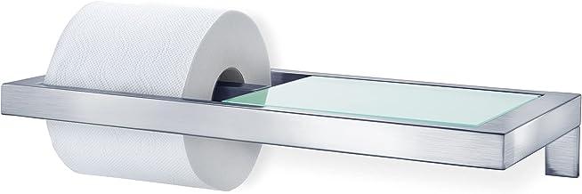 Blomus 68831 WC-Rolhouder Met Plank Van Gesatineerd Glas, Roestvrij Staal